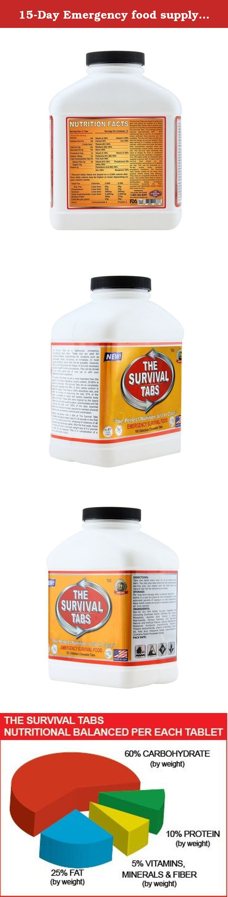 15-Day Emergency food supply for natural disaster Earthquake Flood Tornado Hurricane Volcano Bush Fire Gluten Free and Non-GMO 25 Years Shelf Life (180 Tabs - Strawberry). The Survival Tabs contain 100% of the U.S. RDA of 15 Essential Vitamins & Minerals. Made with the highest quality protein which is essential in survival situations where your body needs to assimilate as much as possible from what you eat. With most the food we eat 30%-60% of the calorie content leaves the body unused…
