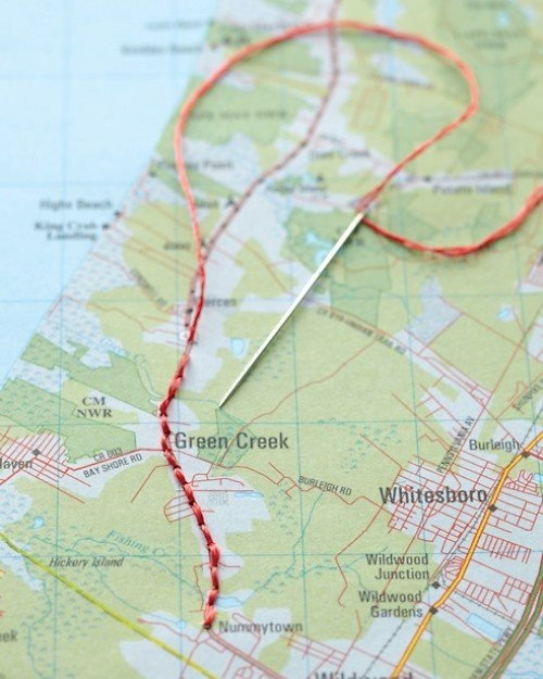 Great way to personalise a wedding map! Mark the route or circle the venue with hand stitching...