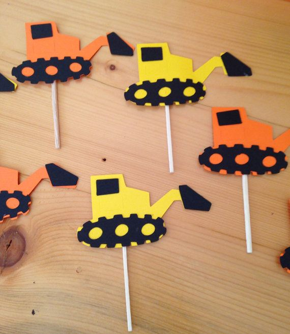 Set of 12 Bulldozer cupcake toppers construction by pinktreepapers