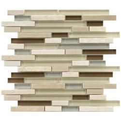 These Somertile mosaic tiles are perfect for baths, backsplashes, and kitchens. A fascinating mix of light blue, light green and brown glass accent these cream and white stone piano tiles