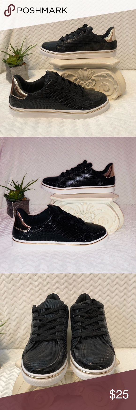 Qupid Mesh Style Metallic Sneakers New—Never been worn just without tags—Gold metallic backs and strip around the bottoms. has very tiny black marks on front as shown in pic from being stored. Great as an xmas gift! Bundle to save! Qupid Shoes Sneakers
