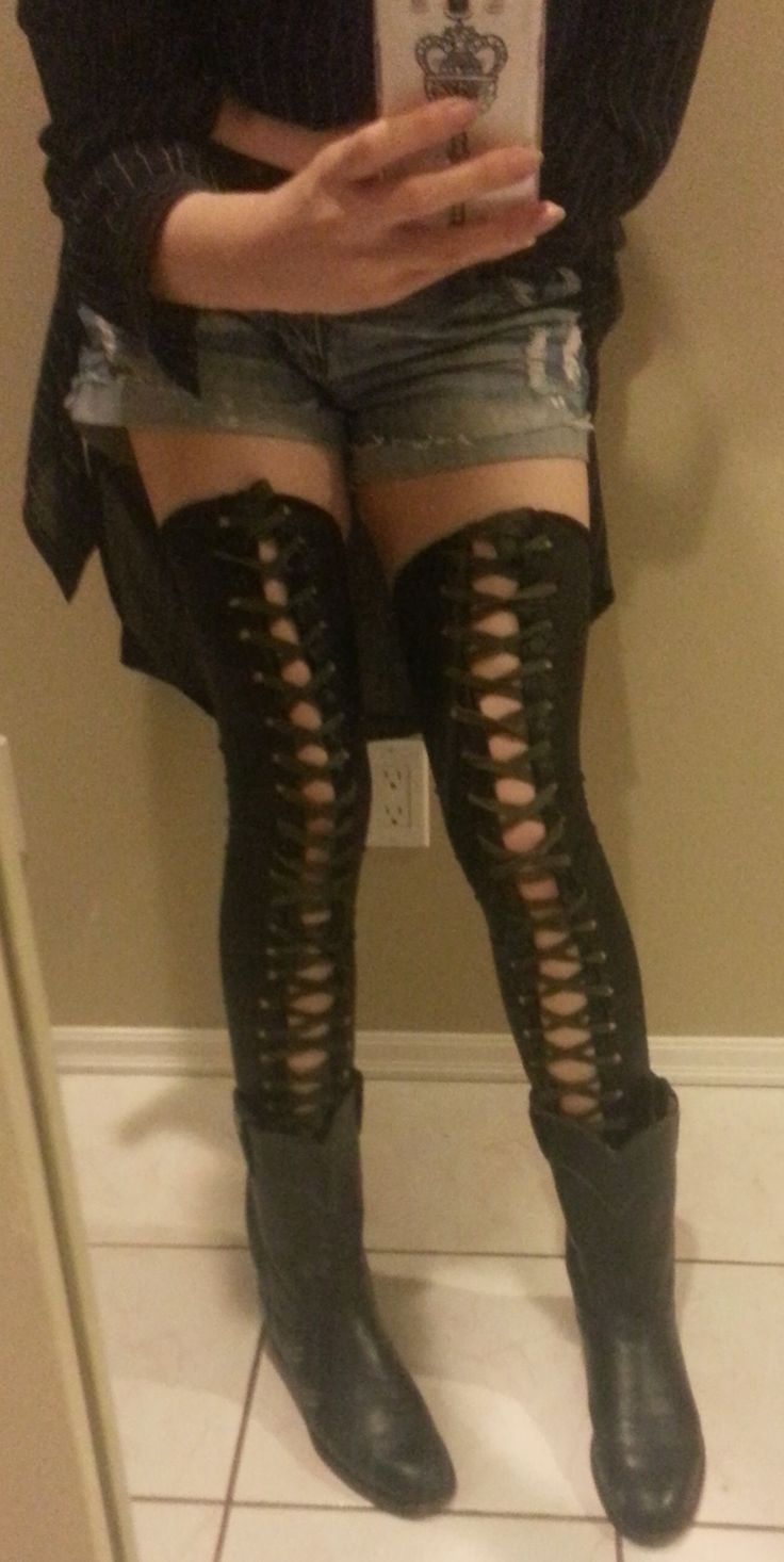 diy corset thigh high socks and thigh high boots on