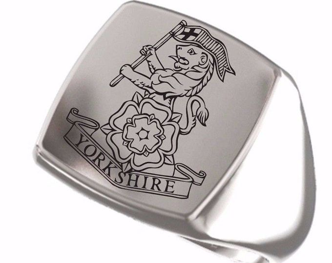 Signet Ring, Mens Ring, UK Army Insignia, British Army, Great Britain, Regiment, Yorkshire Regiment, 925 Sterling Silver, Regiment Insignia