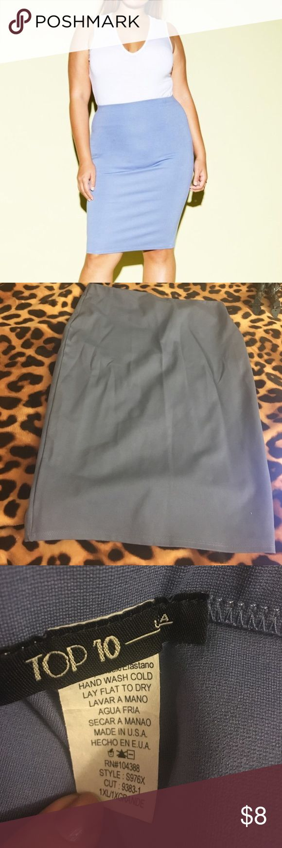 Blue pencil skirt Size 1X but more like a Large. No flaws Skirts Midi
