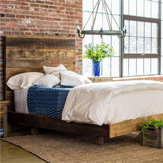 Reclaimed Rustic Barnwood Bed Set with High Headboard