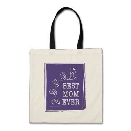 Best Mom Ever - Cute Funny Birds Violet Purple Tote Bag - animal gift ideas animals and pets diy customize