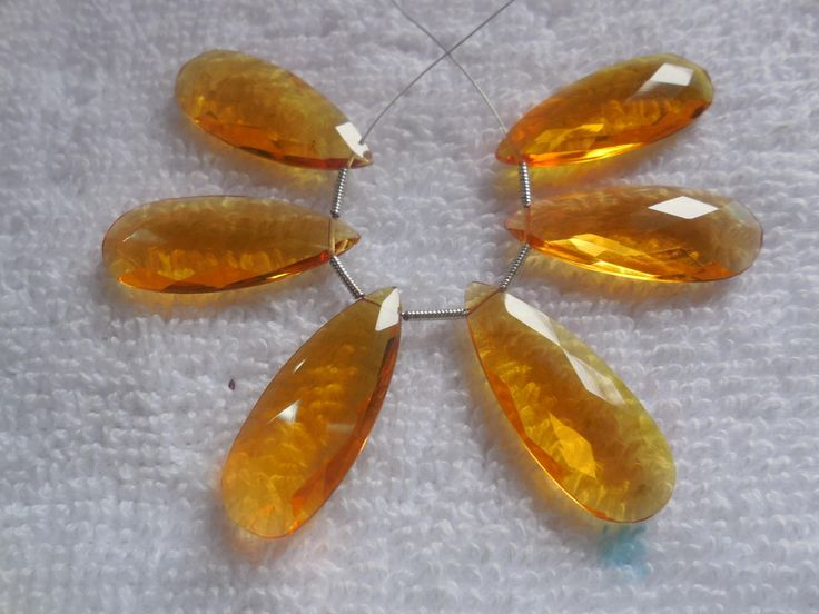 6Psc Faceted Citrine Quartz Pear Briolette,Hydro Quartz Pear Beads, Jewellry making Beads Size 11x28MM by InternationalByBeads on Etsy