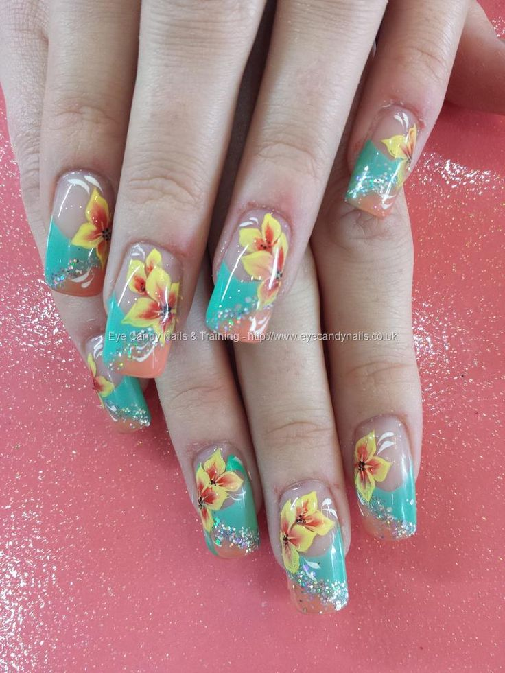 Mint and peach gel polish with glitter and one stroke flower nail art