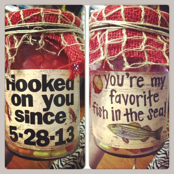 One year anniversary gift for my country boy!! Filled with Swedish fish and gummy worms!
