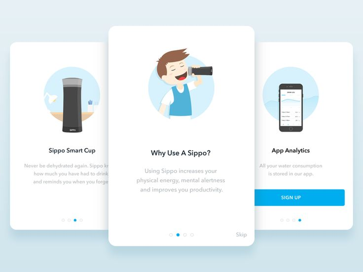 Hey,  Those are few simple illustration that I created for the walkthrough of the Sippo app to introduce the app and it's purpose to the user.