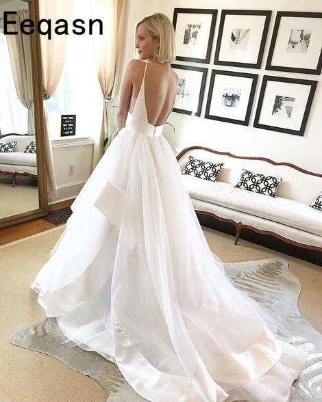 Sexy Backless Wedding Dresses 2018 Elegant Court Train V Neck A-line White  Long Bridal Gown Robe de Mariee Plus Size fd7da929dc9d