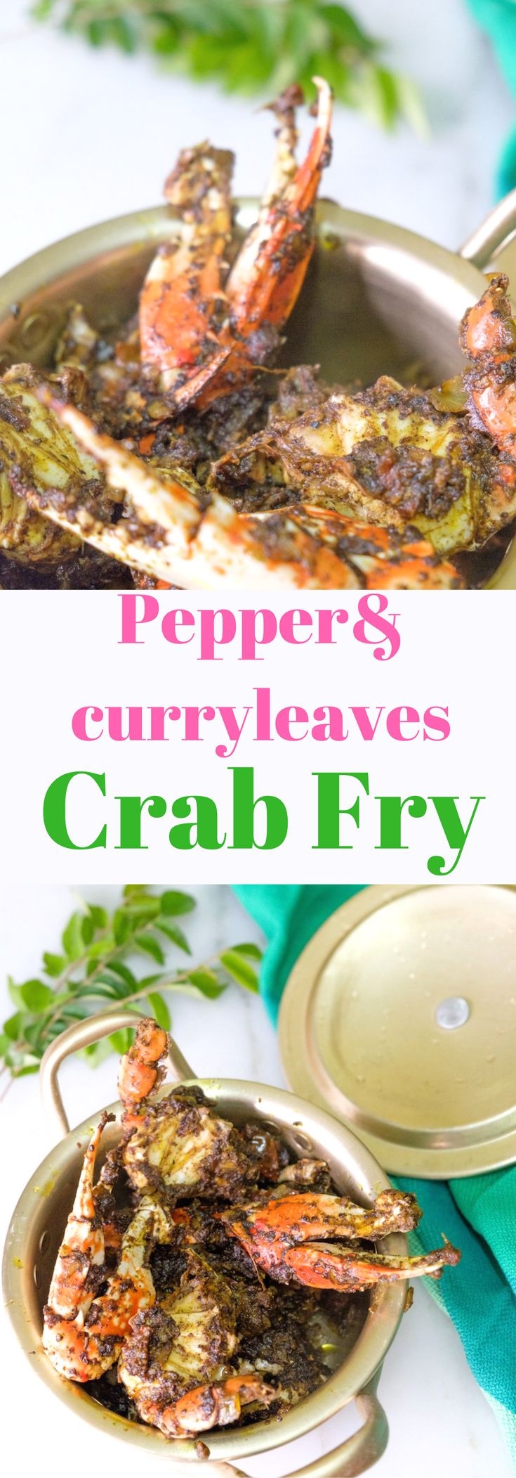 Roasted crab with grounded pepper and curry leaves gives you an earthy flavor which is spicy and peppery.