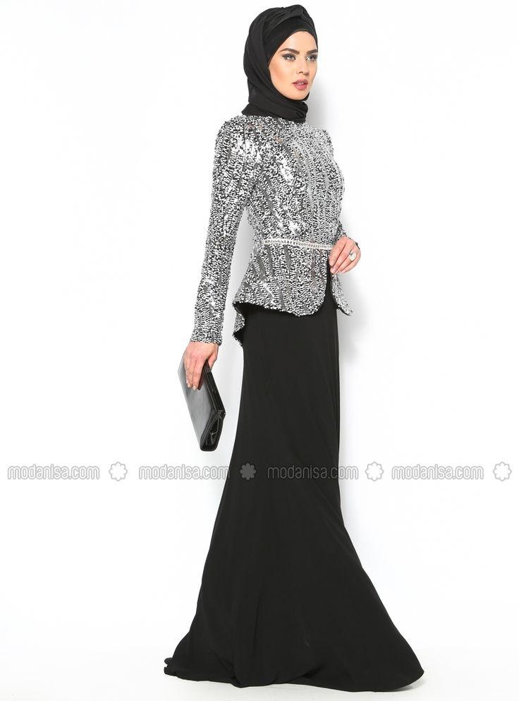 Stamp Sequin Evening Dress - Black - Muslim Evening Dresses - Modanisa