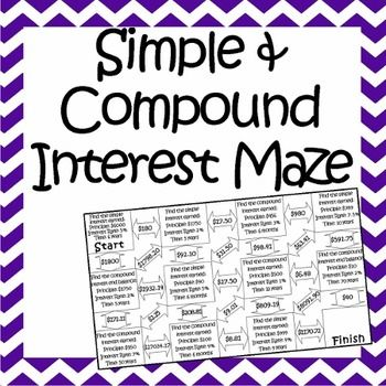 Simple Compound Interest Maze Worksheet 8th Grade Math