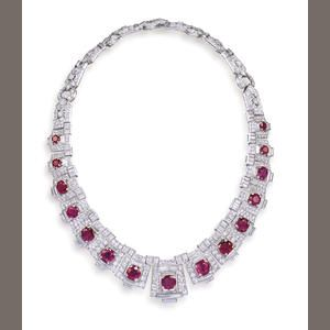 An important art deco ruby and diamond necklace, by Cartier, circa 1925
