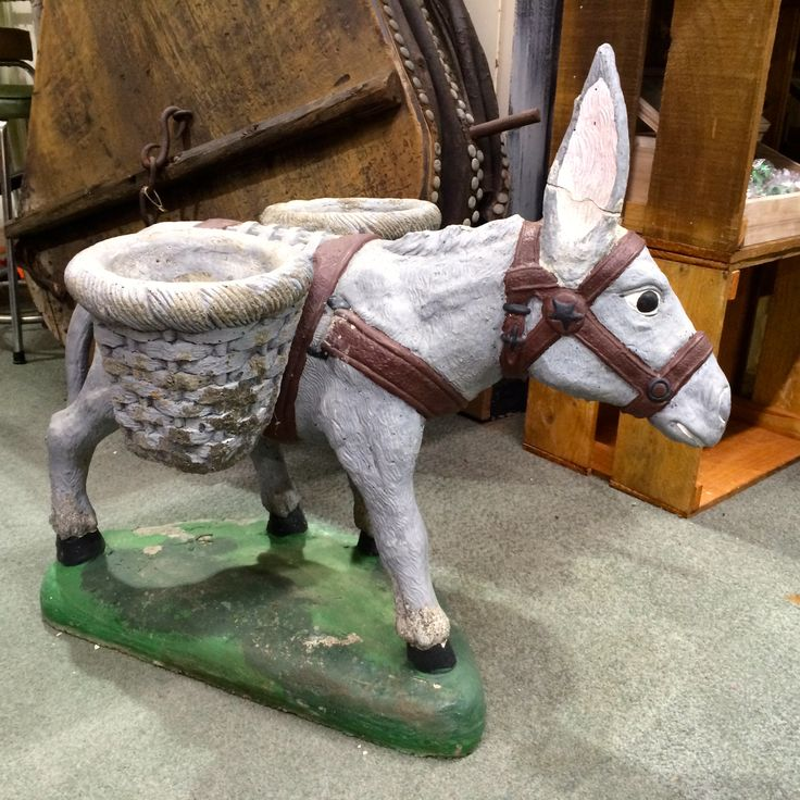 rare vintage concrete donkey planter  roadside retro  the
