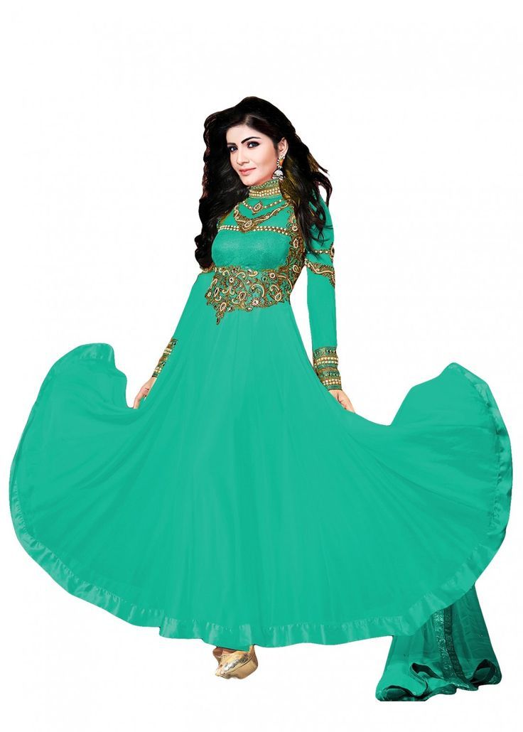 Classic Looking Green Colour Georgette Designer Dress Material