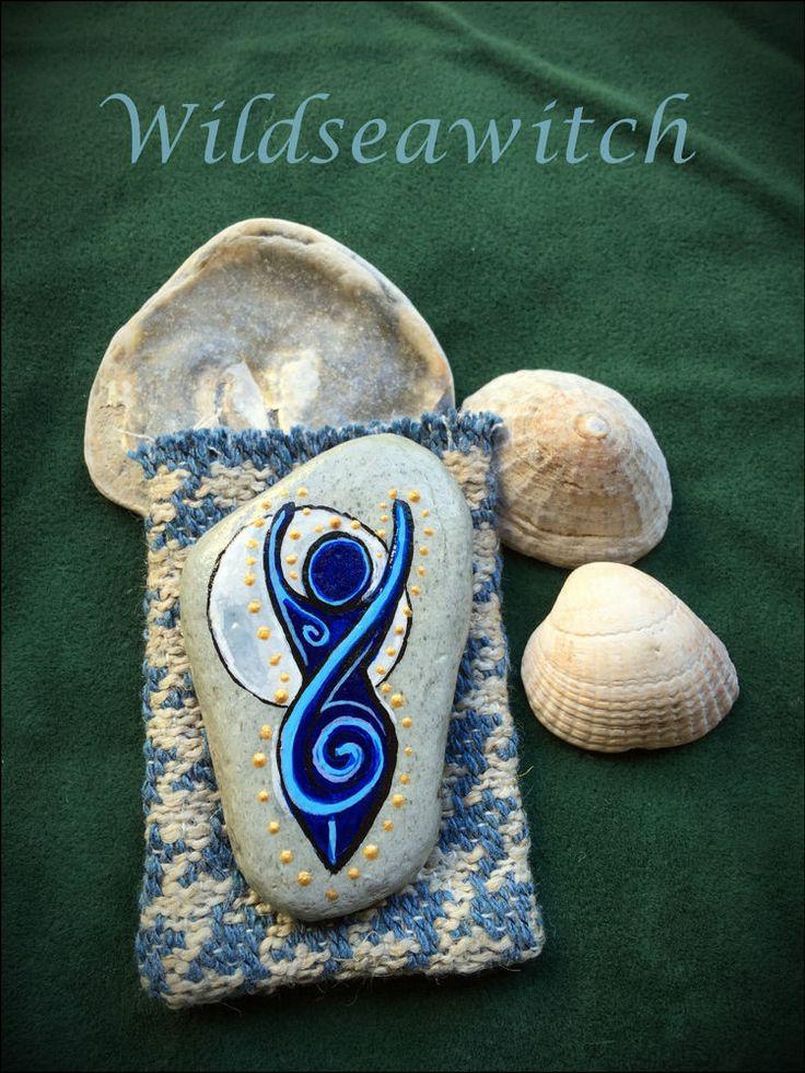 Sea Stone SPIRAL GODDESS ALTAR CHARM & Pouch. Pocket Talisman Amulet Witch Pagan