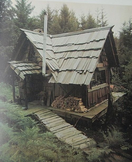 "A wonderful handmade house in the California woods. Photos taken in the 1970s for and from the book: ""Handmade Houses: A Guide to the Woodbutcher's Art"" by Art Boericke and Barry Shapiro."