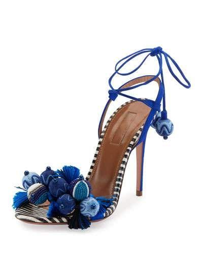 X3HNK Aquazzura Tropicana Tassel 105mm Sandal, Blue Pattern