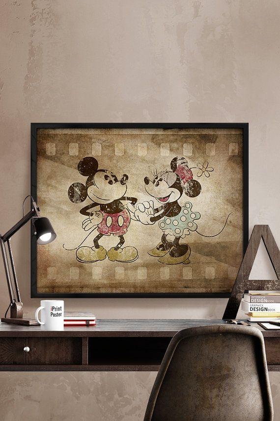 Mickey & Minnie Print vintage style Disney print by iPrintPoster