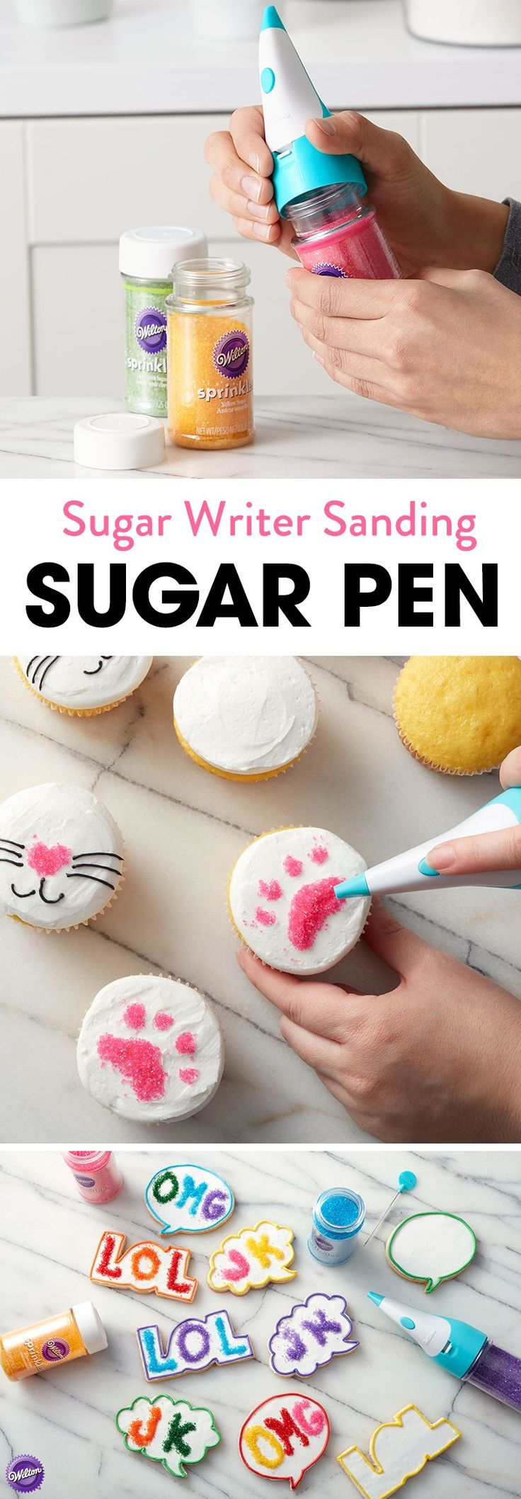 The Wilton Sugar Writer Sanding Sugar Pen makes it easy for you to create colorful messages, designs and other personalized touches, all in beautiful, sparkling sanding sugars.