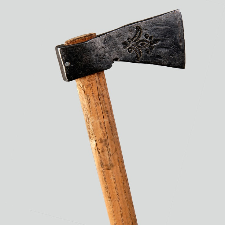 Podhalanian ciupaga axe, the so-called rąbanica. Head of wrought iron decorated with geometric and plant stencilled ornaments, sycamore wood haft.  No data., P. Nowy Targ, 20th c.