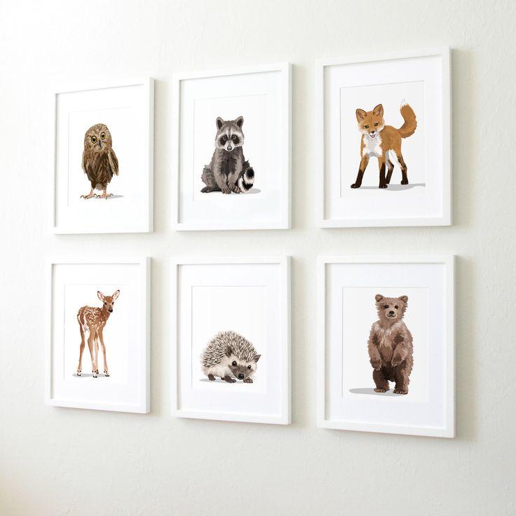 Woodland nursery art, baby forest animals, set of six unframed prints - childrens nursery artwork, raccoon. fox, owl, deer, bear, hedgehog by PaperLlamas on Etsy https://www.etsy.com/ca/listing/464095608/woodland-nursery-art-baby-forest-animals