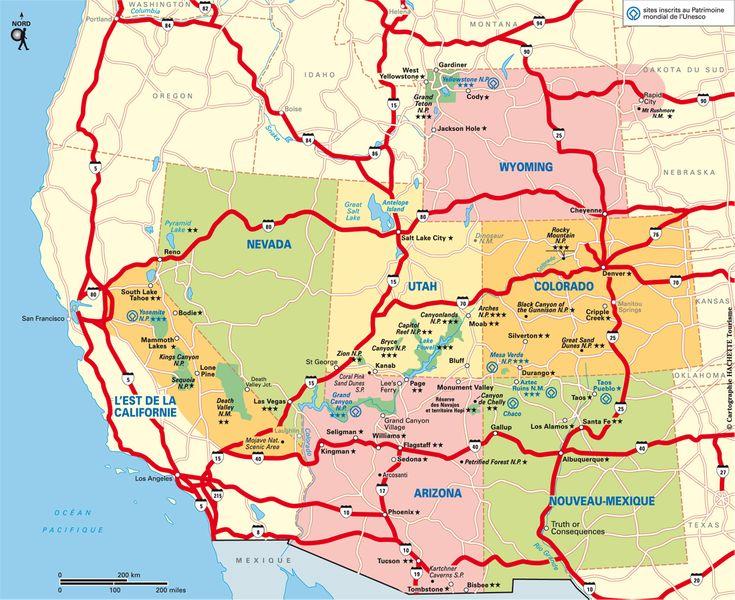 Carte Parcs nationaux Ouest USA / Plan Parcs nationaux Ouest USA