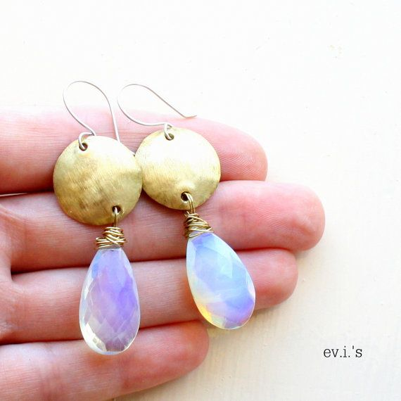 Opalite Faceted Pears Brass Earrings Round by EVIsMetalworkJewelry, €28.00