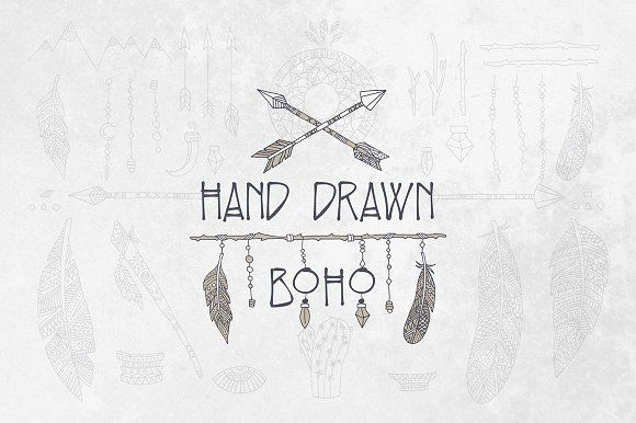 Hand Drawn Boho Elements Graphics This pack includes more than 40 hand drawn boho elements in .AI and .EPS vector formats suitable to by Medialoot
