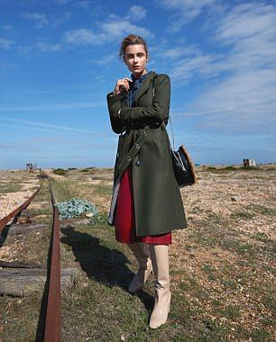 The Military Coat: Coat, £389, Baum und Pferdgarten. Blouse, £49, Maison de Nimes at House of Fraser. Skirt, £49, Biba at House of Fraser Bag, £199, Gestuz. Boots, £320, Aeyde.