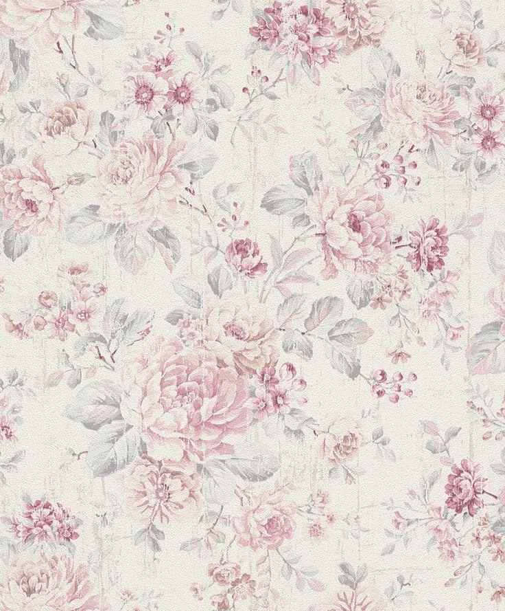 Vliestapete Rasch Blumen Vintage cremeweiß rosa 516029