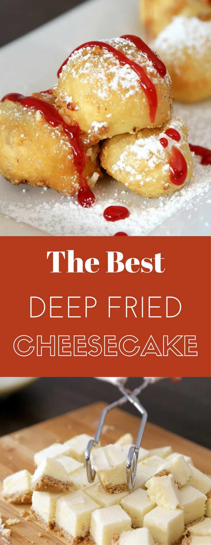 Deep Fried Cheesecake - you can't resist this delicious dessert made with your favorite frozen or leftover cheesecake. It only requires a few simple ingredients: flour, baking powder, salt, sugar, milk and oil. It's great for a party, cheat days or a midnight snack. So yummy! No bake dessert. Vegetarian. Video recipe. | tipbuzz.com