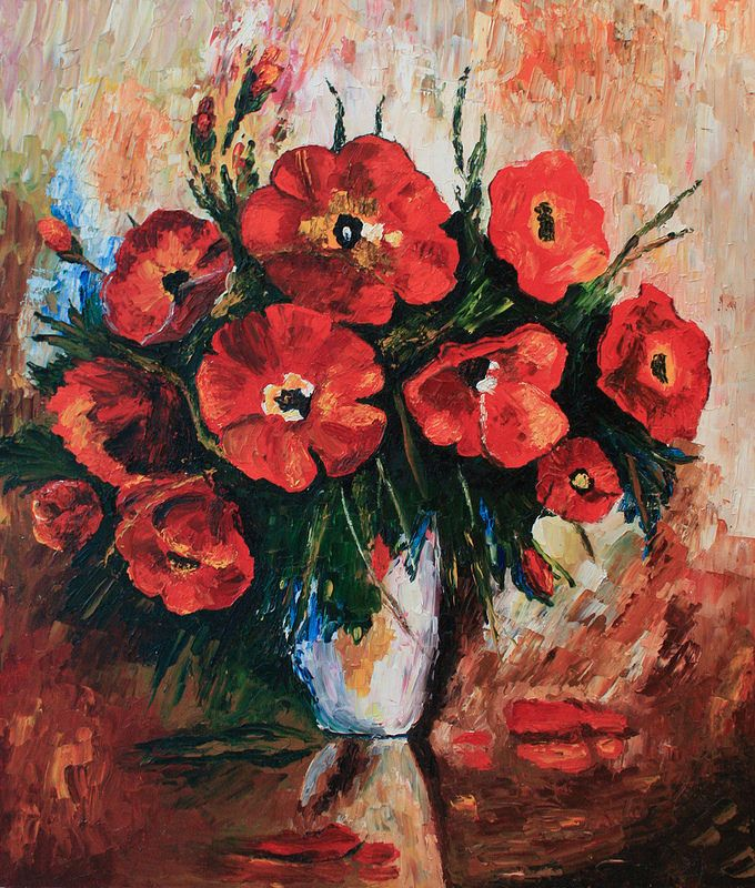 """Oil Painting Reproduction Leonid Afremov """"Poppies in a vase"""" (60*70 oil/canvas, 2011) Копия картины Леонида Афремова 60*70, холст/масло, 2011г."""