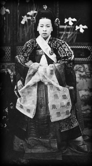 Queen Min-bi of Korea, b Empress Myeongseong 1851 d 1895, was the first official wife of King Gojong, the 26th king of the Joseon dynasty of Korea. The Japanese considered her an obstacle against its overseas expansion. After Japan's victory in the 1st Sino-Japanese War, she advocated stronger ties between Korea & Russia to block Japanese influence, an sword-bearing assassins entered Okhoru Pavilion & killed the queen, burning the corpse in a pine forest.""