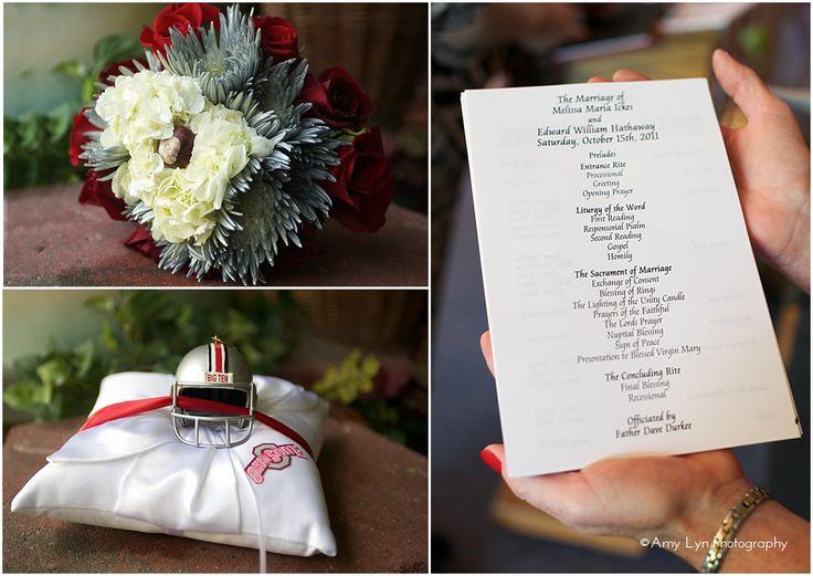 ohio state themed wedding | ohio state wedding details with buckeye and helmet.jpg