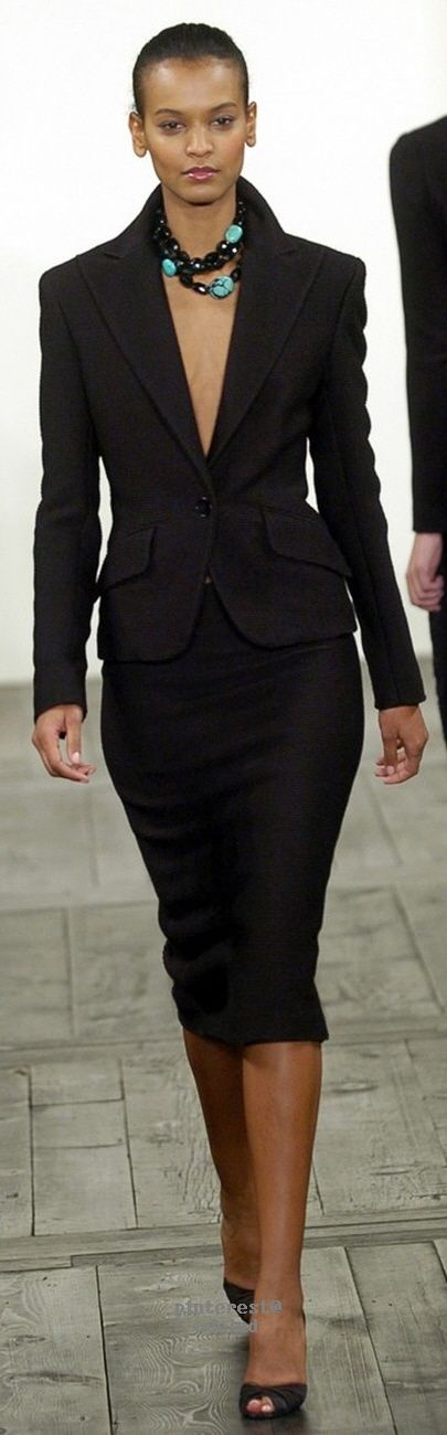 Ralph Lauren Fall 2004 women fashion outfit clothing style apparel @roressclothes closet ideas