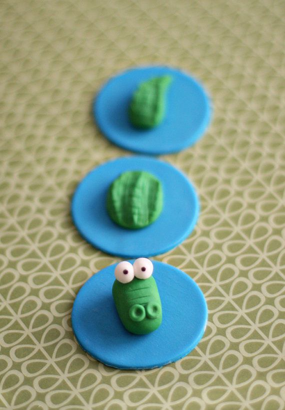 Fondant Crocodile Alligator Cupcake Toppers for Pirate Birthday Parties