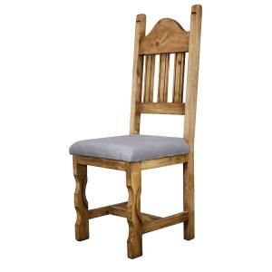 Enjoy the cushioned seat and carved legs of this affordable rustic chair.  Pair these elegant chairs with any of our rustic dining tables for a truly unique and southwestern look.