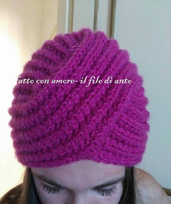 Cappello turbante in pura lana