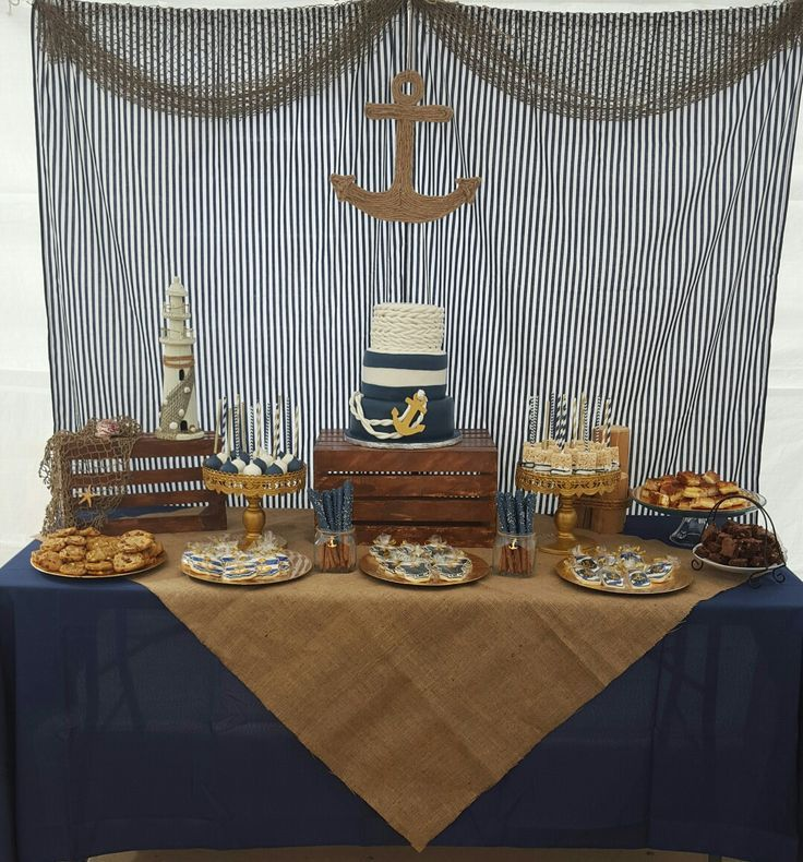 Nautical Baby Shower Theme Dessert Table And Backdrop