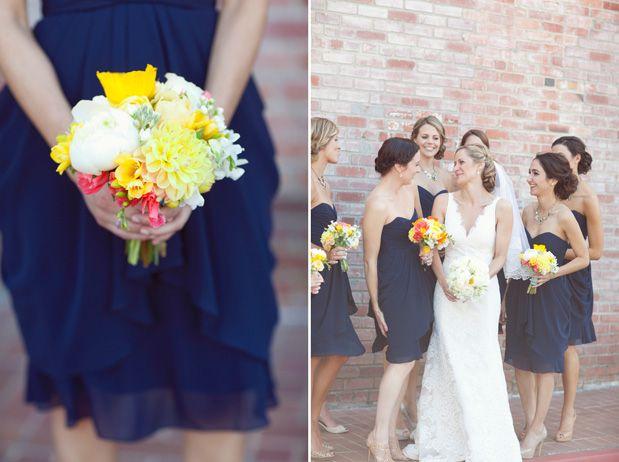 Navy Bridesmaid Dresses With Bouquets Nautical Wedding School Spirit Via グレー の