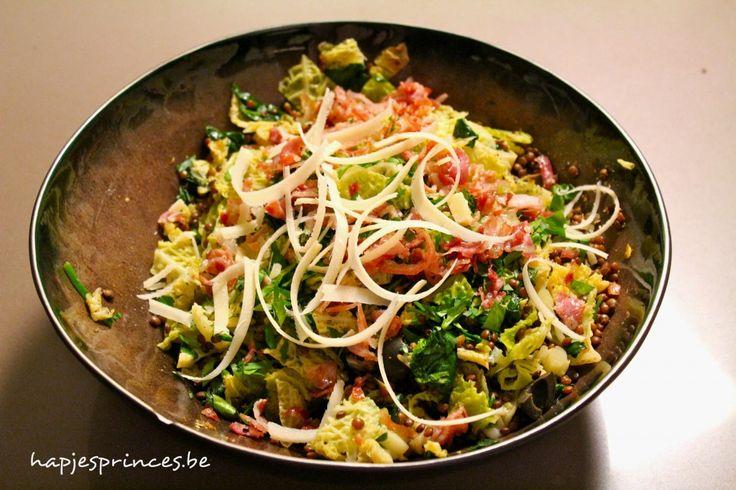 linzen met groene kool en pancetta