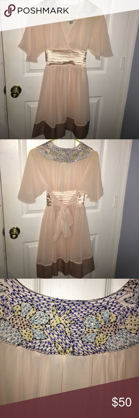 Ellison Peasant Dress Ellison Dress! Beautiful beading, satin belt and tie! ellison Dresses Midi