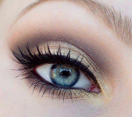 Вечерний золотистый макияж для голубых глаз / X-Style
