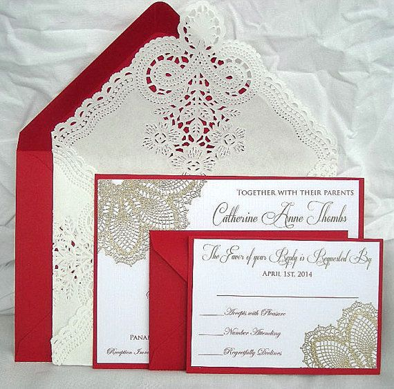 14 best Red Gold Wedding Invitations Stationery images on