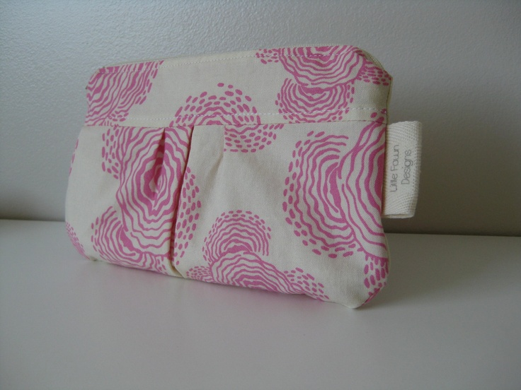 Floating buds in Pink Zip pouch. $15.00, via Etsy.