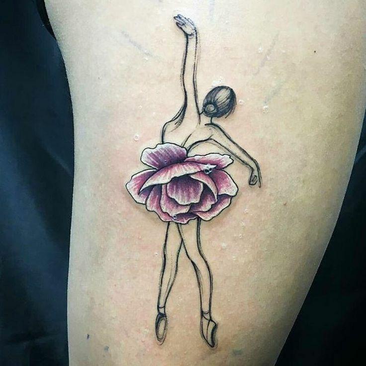 Tattooideen für Frauen Wasserfarben Ballerina
