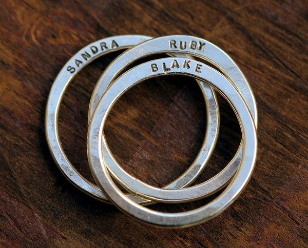 Family name rings >> What a wonderful gift item, these are so lovely! via Monkeys Always Look